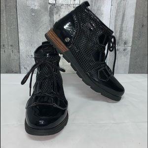Sorel Major Lace Up Ankle Boots Wedge Black Sz 7